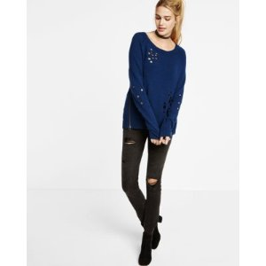 Distressed Long Sleeve Side Zip Sweater