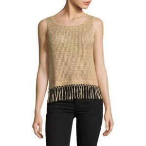 Alice + Olivia Tressa Fringed Knit Top