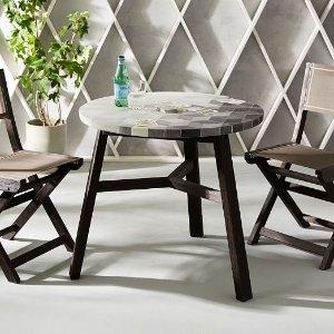 Mosaic Tiled Bistro Table - Isometric Concrete | west elm