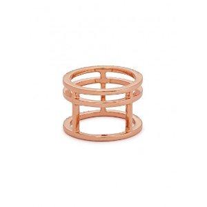Crystal-embellished rose gold tone ring