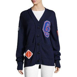 Varsity Wool-Knit Cardigan Sweater W/ Patch