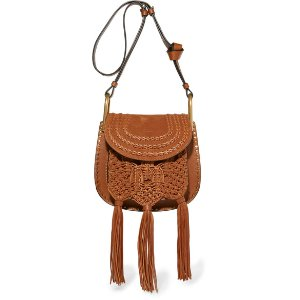 Chloé | Hudson small whipstitched leather and suede shoulder bag