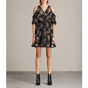 ALLSAINTS US: Womens Christal Rosarium Dress (Black)