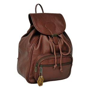 Amerileather Brown Drawstring Leather Backpack | zulily