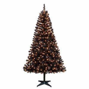 Holiday Time Pre-Lit 6.5' Madison Pine Black Artificial Christmas Tree, Clear-Lights - Walmart.com