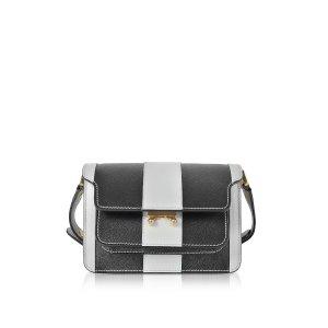 Marni Pelican and Black Striped Saffiano Leather Mini Trunk Bag