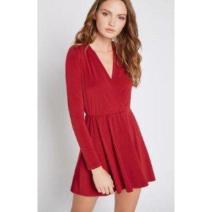 Surplice Long-Sleeve Flare Dress