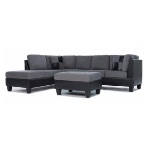 Koko Microfiber Bonded Leather Sectional | Sofamania.com