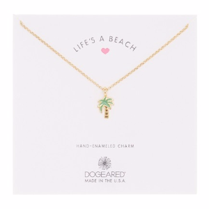 14K Gold Plated LIfe's A Beach Palm Tree Necklace