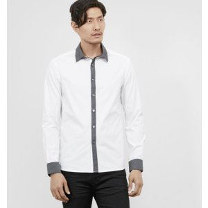 Long-Sleeve Contrast Collar Shirt | Kenneth Cole