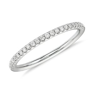 Riviera Petite Micropavé Diamond Ring in 14k White Gold (1/10 ct. tw.) | Blue Nile
