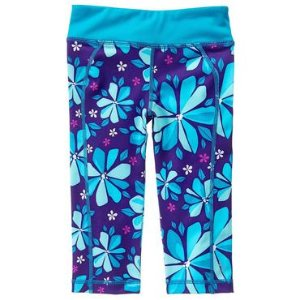 Girls Teal Floral gymgo� Capris by Gymboree