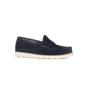 Navy Suede Penny Loafers - View All Clearance - Clearance - TOPMAN USA