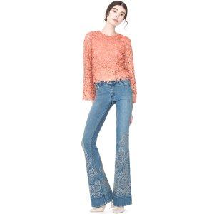 Ryley Studded Low Rise Embellished Jean | Alice + Olivia