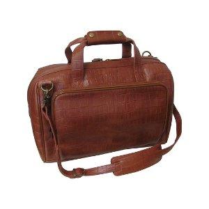 Amerileather Brown Croc-Embossed Leather Weekend Duffel | zulily