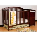 Stork Craft Bradford 4 in 1 Fixed Side Convertible Crib Changer, Espresso