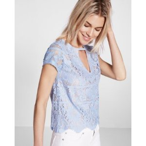 Lace Cut-out Short Sleeve Tee