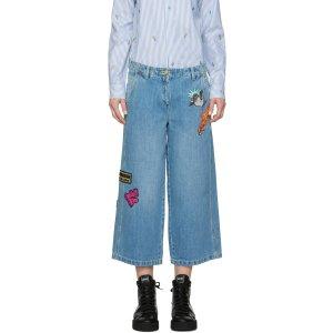 阔腿刺绣牛仔裤