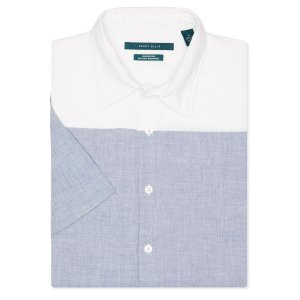 Short Sleeve Engineered Stripe Linen Shirt - Perry Ellis