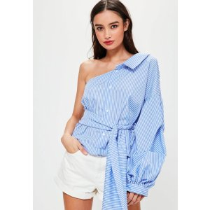 Blue One Shoulder Tie Front Stripe Shirt
