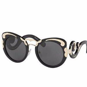 Prada Monochromatic Butterfly Scroll Sunglasses, Black