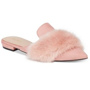 $34.99(原价$60)ALDO 丝绒毛毛尖头穆勒鞋 码全