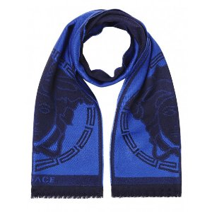 Versace Collection 100% Wool Scarf - Blue