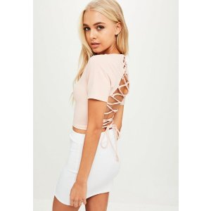 Pink Tie Back Cropped Top | Missguided