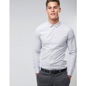ASOS | ASOS Smart Slim Oxford Shirt With Stretch In Light Gray