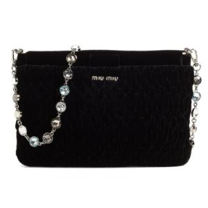 Miu Miu Crystal Strap Quilted Velvet Shoulder Bag