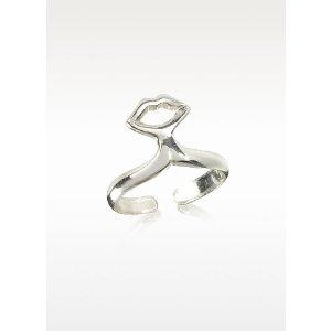 Bernard Delettrez Small Silver Plated Bronze Midi Ring w/Mouth at FORZIERI