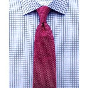 Slim fit twill grid check sky blue shirt | Charles Tyrwhitt