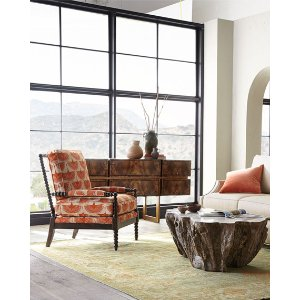 Leather Sofas & Hexagon End Tables at Neiman Marcus Horchow