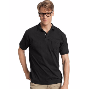 Hanes Cotton-Blend Jersey Men's Polo with Pocket | Hanes