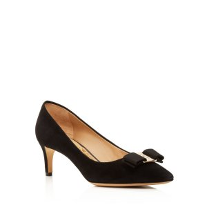Salvatore Ferragamo Emy Suede Pointed Toe Mid Heel Pumps | Bloomingdale's