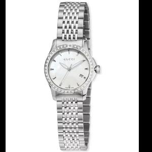 G-Timeless Small Stainless Steel & Diamond Bracelet Watch, White