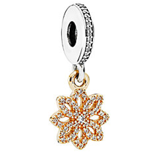 PANDORA 14K & Silver CZ Lace Botanique Dangle Charm