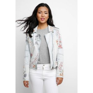 Blank Embroidered Denim Moto Jacket | South Moon Under