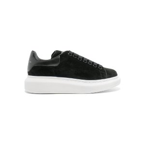 Alexander McQueen Leather-trimmed velvet exaggerated-sole sneakers