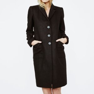 GRAKIM Long frock coat with martingale - Coats & Jackets - Maje.com