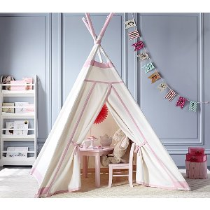 White with Pink Trim Teepee | Pottery Barn Kids