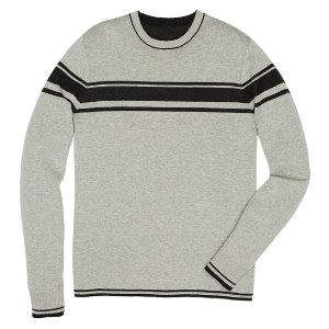 REVERSIBLE CHEST STRIPE CREW SWEATER