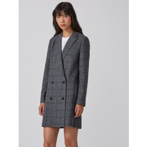Double-Breasted Plaid Blazer in Grey
