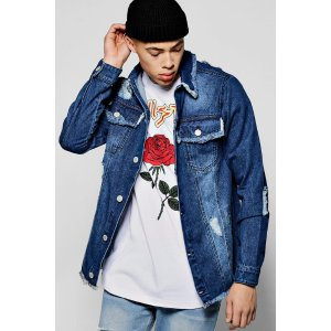 Heavily Distressed Mid Blue Denim Jacket