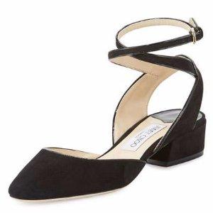 Jimmy Choo Vicky Suede Ankle-Wrap Ballerina Flat, Black