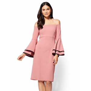 Off-The-Shoulder Bell-Sleeve Sheath Dress