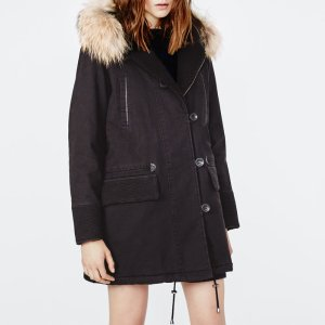 GASTON Parka with details and fur - Coats & Jackets - Maje.com