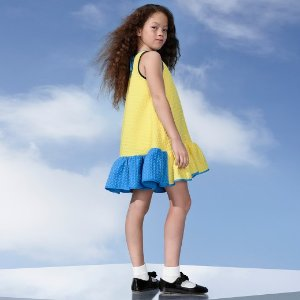 Girls' Yellow Cloque Ruffle Dress - Victoria Beckham for Target : Target