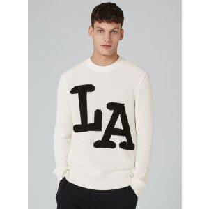 Cream LA Intarsia Sweater - Cardigans & Sweaters - Clothing - TOPMAN USA