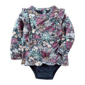 Baby Girl Floral Poplin Bodysuit | Carters.com